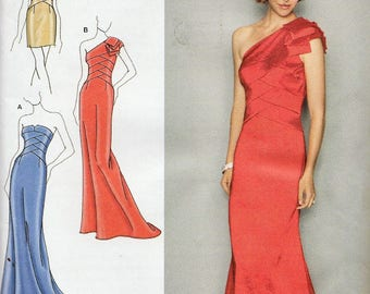 Simplicity 2253 / Sewing Pattern By Jessica McClintock / Evening Gown / Strapless Or One Shoulder Dress / Sizes 4 6 8 10 12