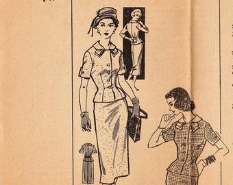 Vintage Mail Order Sewing Pattern / Clotilde 3215 / 1950s Suit Skirt Jacket / Size 18 Bust 38