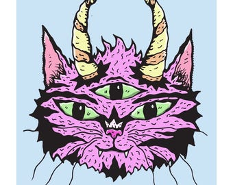 Three-Eyed, Horned Purple Wiggly Kitties Cat Art Print