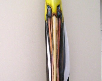 Pelican Tiki Mask on Queen Palm Seed Pod Frond