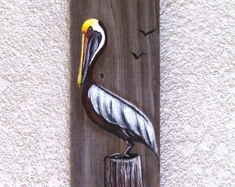 Pelican Hand Painted on Reclaimed Fence Board  Wood Plaque