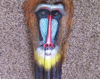 Baboon Mandrill Tiki Mask on Palm Frond Branch