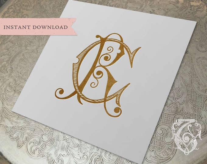 Vintage Monogram CR RC Wedding Duogram Digital Download C R