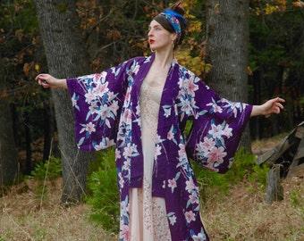 FREE SIZE... Japanese Kimono... Purple Floral Boho Couture... Lounge Like a Gypsy Diva