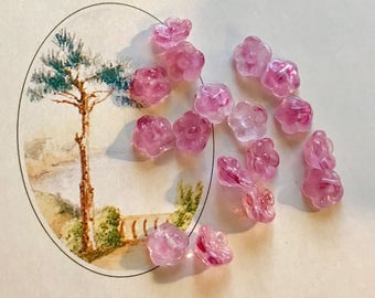 Shabby chic Glass Button Beads,Miriam Haskell Style,Pink flower beads,Vintage Glass Buttons,Button Back,Pink Czech Glass,7mm #1693D