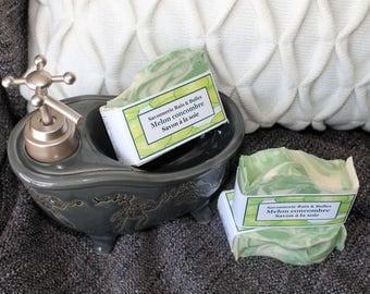 Savon à la soie Melon concombre, fait main, naturel