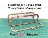 5 frames of 12x3.5 inch Nickel and Antique Brass metal purse frame kisslock for large handbags, leather satchel or cinema clutch purse