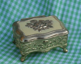 Ornate Metal Jewelry Box,  Diminutive Size, Gold Tone with Rose Design, Made in Japan