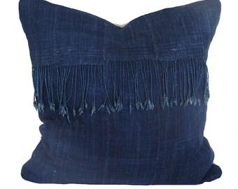 Dark Blue Navy Indigo Fringe African Mud Cloth Pillow