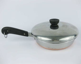 Vintage Double Circle Revere Ware Copper Clad Stainless Frying Pan With Lid 8""