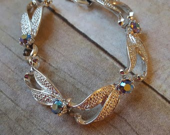 Vintage Silver Tone Aurora Borealis Rhinestone Bracelet, Mid-century Chunky Bracelet, AB Stone Jewelry