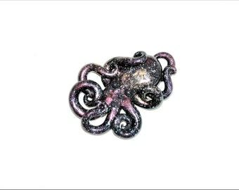 Galaxy octopus necklace, larger, opalescent, sparkly, glitter, starry night, outer space, stars, cosmic