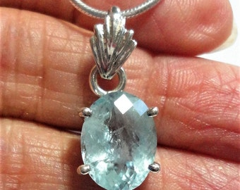"Aquamarine Pendant Aquamarine Faceted All Natural Pale Watery Blue Gemstone Pendant in Sterling on 16"" Sterling Snake Chain"