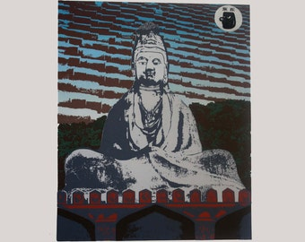 Buddha Serigraph 22 x 30 Signed Print AP Numbered Small Limited Edition