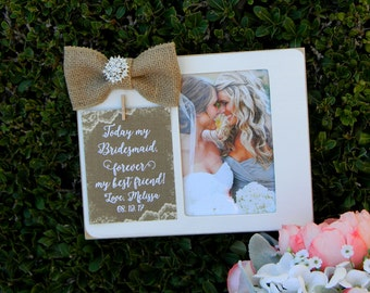 Bridesmaid Picture Frame Gift Personalized Picture Frame Bridal Party Gift Maid of Honor Picture Frame Matron of Honor Picture Frame Photo