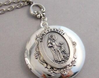 Saint Francis,Animal Saint,Saint For Animals,Animal,Woodland,Necklace,Locket,Silver Locket,Mens,Medal,Saint,Mens Gift,Valleygirldesigns