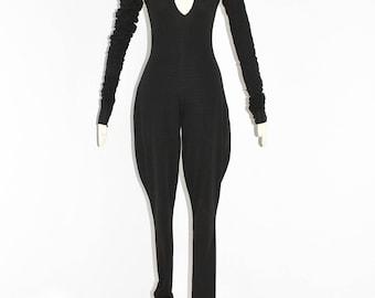 NORMA KAMALI Vintage Black Jumpsuit Draped Oversized Legs Sleeves
