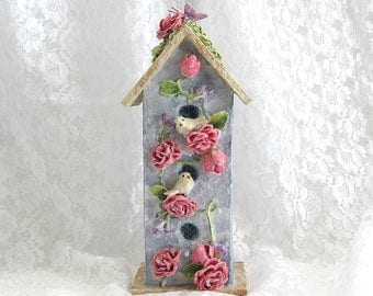 Shabby Chic Baby Nursery Bird House Decor Baby Room Bird Clay Flower Baby Bird House Decorative Birdhouse Decor Blue Birdhouse Ornament
