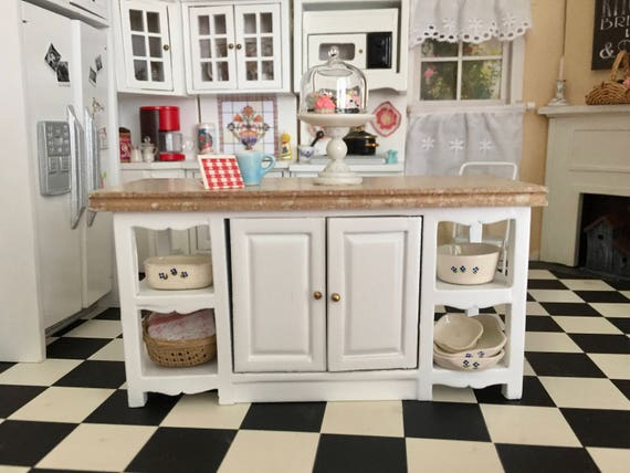 Center Kitchen Island With Marble Look Top, Dollhouse Miniature Furniture, 1:12 Scale, White Island, Shelves and Doors