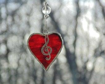 Stained glass suncatcher, mini heart, I love music, g-clef, music teacher gift, red heart, music lover gift, musical note