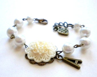 Personalized Baby Bracelet Initial Bracelet Personalized Flower Girl Gift Children Bracelet Flower Girl Jewelry Ivory Flower Bracelet