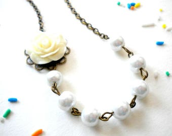 Flower Girl Jewelry Pearl Children Necklace Rose Girl Necklace White Pearl Necklace Wedding Gift For Children Wedding Flower Girl Necklace