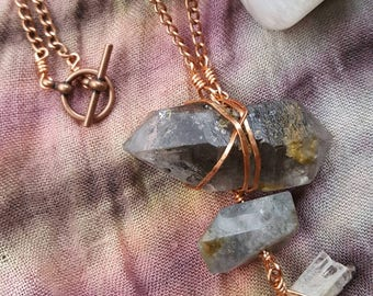 HANDMADE// Copper Wirewrapped Long Necklace- with Tibentan Graphite Quartz, Faceted Labradorite and Danburite stones