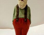 Hand Carved Santa Bald Christmas Art Sculpture Wood Handmade Folk Art Whittled Caricature