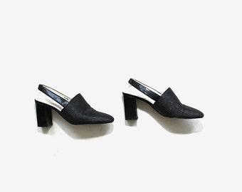 Vintage Leather Mules 6.5 / Black Slingback Heels / Minimal Heels / Slingback Mules
