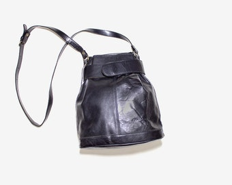 Vintage Leather Bucket Bag / Black Bucket Bag / Black Leather Bag