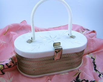 1950s pearly lucite purse • vintage 50s purse • collectable evening handbag