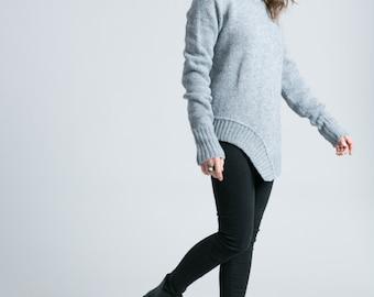 Black Sweater / Asymmetric Blouse / Oversized Cardigan / Black Jumper / High Low Sweater / marcellamoda k - MB789