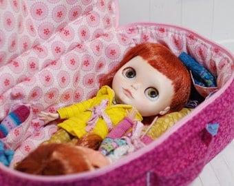 Travel Bag Sleeping Protective For Two Dolls Doll Linda Macario Case Blythe Littlefee Handmade 1/6 Bjd Dal Pullip Pink Flowers