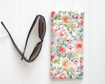 Eyeglasses or Sunglasses Case, Watercolor Flowers Eyeglass Pouch, Designer Fabric, Fabric Eyeglass Case, Eyewear Case