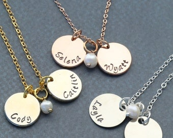 SALE • Childrens Name Necklace • Mommy Necklace • Mothers Necklace • Rose Gold Necklace • Mom Birthday Gift • Handstamped Charm Necklace