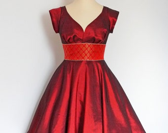 UK Size 16 Russet Red Taffeta  Sweetheart Swing Dress  - by Dig For Victory