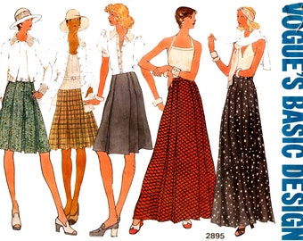 Vogue Basic Design 2895 Womens Midi Maxi Pleated Skirts 70s Vintage Sewing Pattern Waist 30 inches UNCUT Factory Folded
