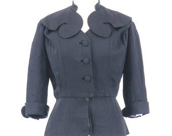 1940s Art Deco Jacket, Vintage 40s Silk Blazer, Femme Fatale Hourglass Jacket, Film Noir Large