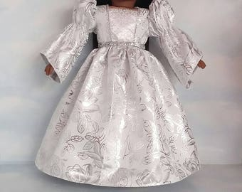 18 inch doll clothes - White and Silver  Princess Gown made to fit the American Girl Doll - FREE SHIPPING