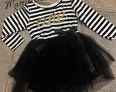 Black Stripe 1st Birthday Girl Outfit, Personalized Birthday Outfit.Baby Girl One Year Old Girl Birthday Outfit, FREE SHIPPING