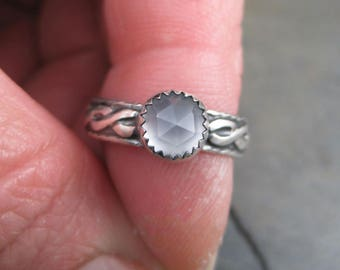 Blue Chalcedony Rose Cut on a Celtic Sterling Band - Size 6 Ring