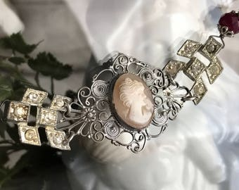 tending to her garden - bracelet vintage cameo assemblage art deco rhinestone ruby gemstone romantic victorian flower, the french circus
