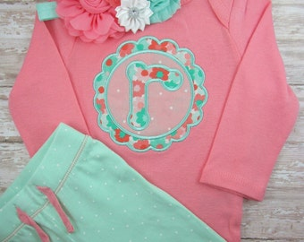 baby girl coming home outfit, baby girl, clothes, outfit, newborn, hospital outfit, coral, mint, pants, baby girl bodysuit, headband, set