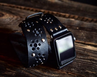Black Thin Vintage Bohemian  Double Tour Band - Wrap Band  Apple Watch Band Strap -  Handmade leather band for Apple Watch 38mm