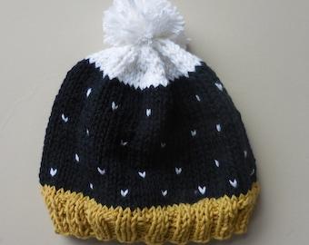 STARRY NIGHT Polka Dot Pom Pom Hat Knit Winter Cap Stocking Beanie Boy Girl Stretch Infant Baby Ribbed Knitted Black Gold White 6 9 12 mo