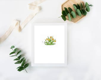 """Water Color Reproduction, Daffodils, NATURE ART, WATERCOLOR, Print, Minimalist,  """"Littles Series"""", Wall Art, Home Decor, Spring Flower"""