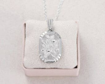 Vintage Silver Locket Necklace, Rectangle Bevelled Edge Unusual Photo Pendant - Symmetrical Swirls