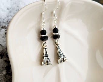Black Eiffel Tower Earrings, Silver Eiffel Tower and Black Sterling Silver Dangle Earrings, Sterling Silver Eiffel Tower Earrings