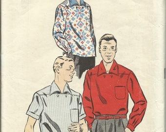 Vintage 1950's ADVANCE 8486 COMPLETE and UNCUT - Men's Sport Shirt Pattern Size M