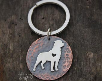 Dog Lovers Keychain, dog breed accessories, dog gifts for men and women, heart dog accessories, Rottweiler key chain